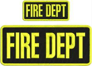 FIRE DEPT Embroidery Patch 4X10 & 2X5 Hook ON Back BLK/Yellow by HighQ Store (Fire Dept Embroidery)
