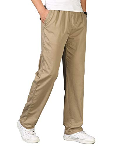 (Men's Pants Casual with Elastic Waistband Dark Grey Loose Fit Cargo Pants for Men(L))
