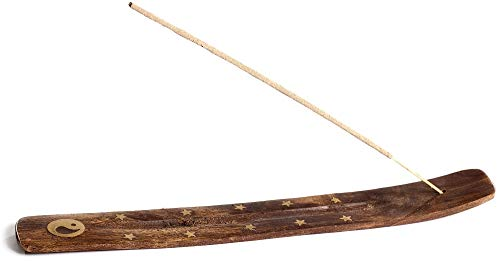 (Wooden Incense Holder for Sticks with Inlays of Brass 10 inches Long Assorted Styles)