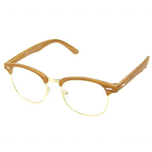 Cyxus Blue Light Filter Semi-Rimless Glasses, Anti Eyestrain Computer Reading Eyewear Browline (Tea Orange Wood Grain) - Wood Guardian Pc