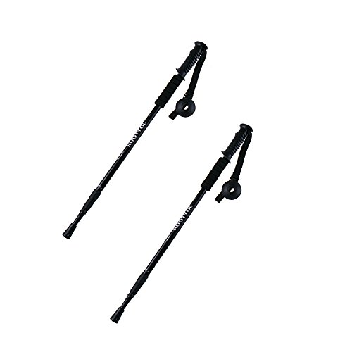 Trekking Poles , LOPEZ 1Pair/2pcs Anti-Shock Walking Stick Foldable and Adjustable Hiking Sticks Folding Alpenstock Non-slip Canes for Outdoor Camping Traveling Mountaineer
