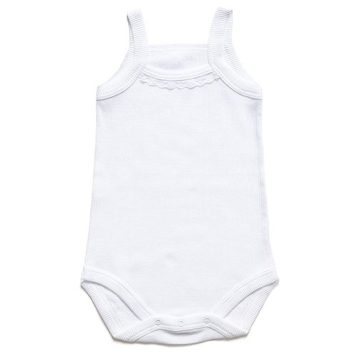 Lace Rib Tank (Bahar Bebe Ultra Soft Ribbed Turkish Cotton white Baby Camisole Onesies with lace. 12)