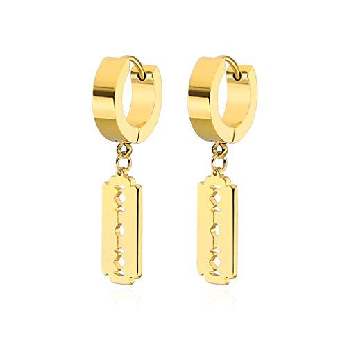 (Xusamss Hip Hop Stainless Steel Blade Dangle Hoop Earrings (Gold))