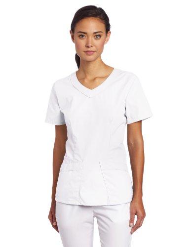 Landau Women's Rounded V-Neck Scrub Tunic, White, Small