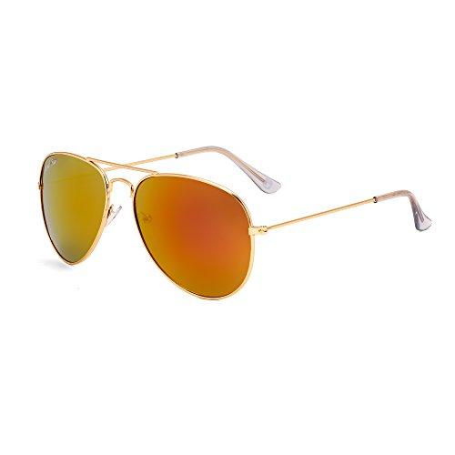 Royal Son UV Protected Aviator Unisex Sunglasses (RS0025AV|58|Red Mirrored Lens)