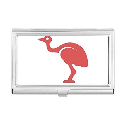 Australia Ostrich Retro Style Red Illustration Business Card Holder Case ()