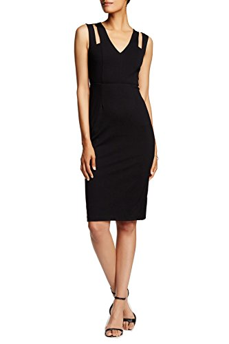 Midi Black Cutout Malandrino Catherine Neck Catherine Ponte V Dress Women's 0g0qRxwS