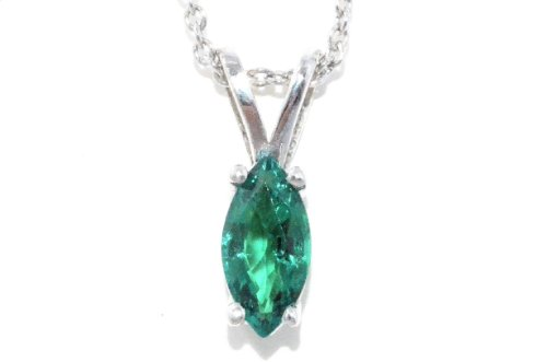 Marquise Simulated Diamond Sterling Pendant (1 Carat Simulated Emerald Marquise Pendant .925 Sterling Silver Rhodium Finish)
