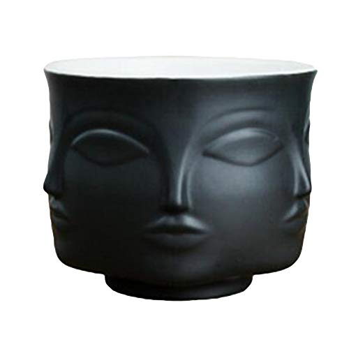 SuBoZhuLiuJ Artistic Human Face Pattern Home Decoration Plants Flower Pot Container Planter Black