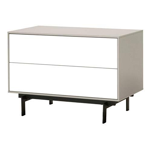 (MAKLAINE 2 Drawer Modular TV Stand in Matte Light Gray and White High Gloss)