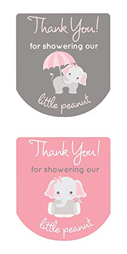 Labels for Hand Sanitizer Thank You Stickers Gray Elephant Set of 90 (Pink) (Hand Elephant)
