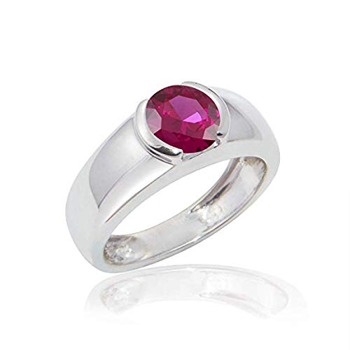 DiscountHouse4you 7mm Simulated Gemstone Birthstone Half Bezel Set Solitaire Engagement Wedding Ring for Women Girls Teen 14k White Gold ()