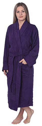 (Womens 100% Cotton Shawl Collar Robe Terry Cloth Bathrobe Available in Plus Size BRT1_Y18 Purple 4X)