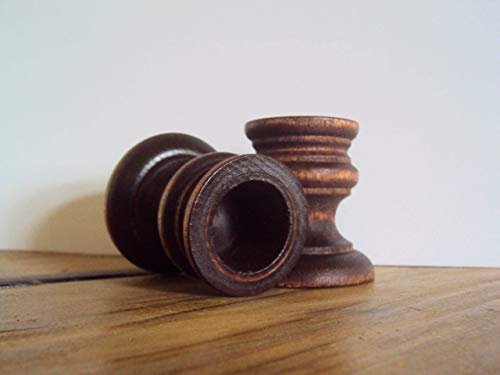 (Rustic Candle Holders - Farmhouse Decor - Small Coffee Brown Wooden Candle Cups - Country Table Decor - Primitive 2