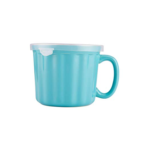 Farberware 5172594 Baker's Advantage Ceramic Soup Mug with Lid, 16-Ounce, Teal