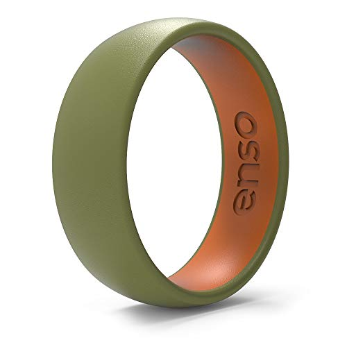Enso Rings Dual-Tone Silicone Ring | The Premium Fashion Forward Silicone Ring | Hypoallergenic Medical Grade Silicone | Lifetime Quality Guarantee (Olive & Burnt Orange, 7)