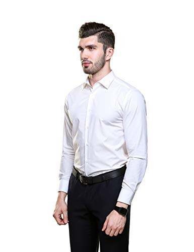 Piero Lusso Mens Wingtip Collar Tuxedo Dress Shirt with French Cuffs and Bow Tie