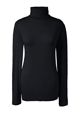 Lands' End Women's Petite Lightweight Fitted Turtleneck Layering Black (Cotton Petite Turtleneck)