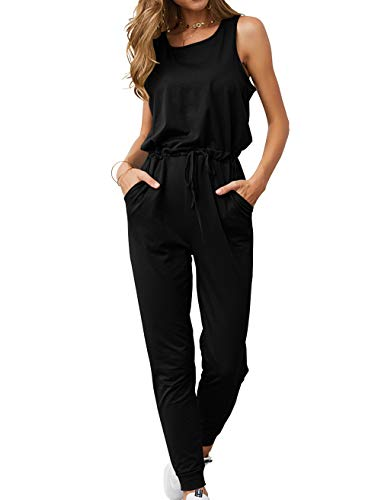 (KIRUNDO Women's 2019 Summer Solid Casual Sleeveless Drawstring Waist Long Pants Rompers Jumpsuits with Pockets (Small, Black))