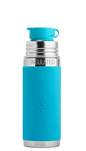 Pura Sport Vacuum Insulated 22 OZ 650 ML Stainless Steel Water Bottle with Silicone Sport Flip Cap /& Sleeve Plastic Free, NonToxic Certified, BPA Free