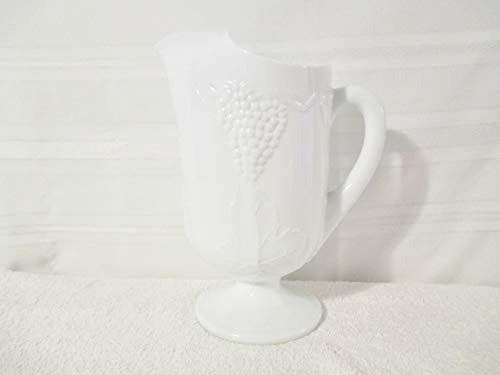 Indiana Glass Glass Pitcher - Vintage Indiana Milk Glass Harvest Grape Pattern 10 Inch Pitcher