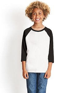 Heathered Raglan T-shirt (NL YTH 3/4 SLEEVE RAGLAN TEE, BLACK/ WHITE, M)
