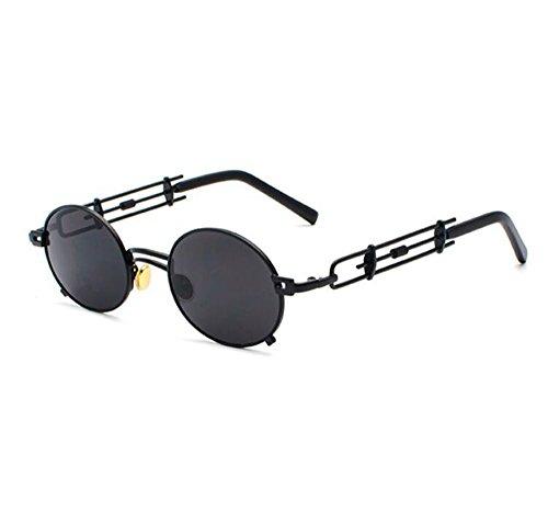 Lentes no polarizado Marco lente la de vintage oval la UV400 tendencia Steampunk de de Gris la de personalidad del retro Negro de sol AwpHgqAr