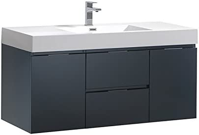 Fresca Valencia 48 inch Dark Slate Gray Wall Hung Modern Bathroom Vanity