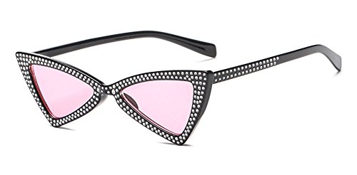 Clout Goggles Small Cat Eye Sunglasses Bold Retro Mod Diamond-set Triangle - Clubmaster Cat Sunglasses Eye