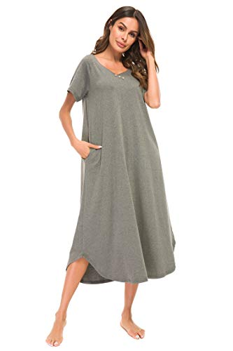 YOZLY Women's Knit Lounger Short Sleeve Long Nightgown with Pockets S-XXL (Grey, M)