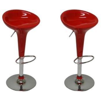 Amazon Com Boraam 99230 Scoop Bar Stool Red Set Of 2