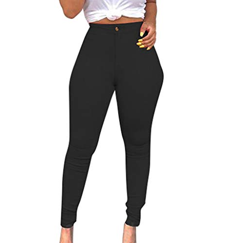 Dainzuy Women's Jean Jeggings Tights Slimming Leggings Pants Women Butt Lift Button High Waist Stretch Denim Skinny Jeans Black