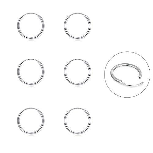 Silver Hoop Earrings- Cartilage Earring Endless Small Hoop Earrings Set for Women Men Girls,3 Pairs of Hypoallergenic 925 Sterling Silver Tragus Earrings Nose Lip Rings (10mmx3 Pairs)