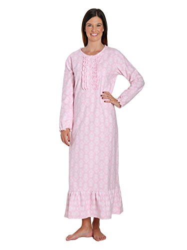 Noble Mount Women's Premium Flannel Long Gown - Brocade Pink-White - X-Large - Pink Brocade Dress