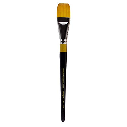 KINGART Original Gold Flat Glaze 9550-1, Premium Artist Brush, Golden TAKLON WASH-Size: 1, Black