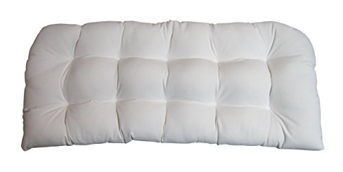 - Indoor / Outdoor Tufted Cushion for Wicker Loveseat Settee - Sunbrella Canvas White