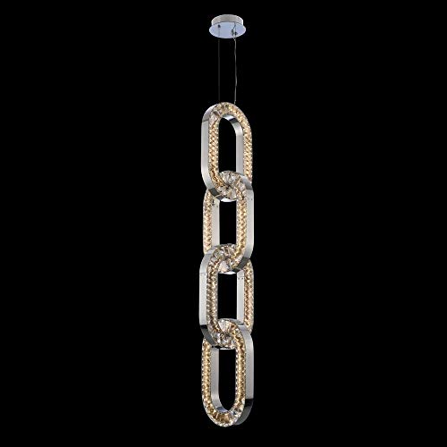 """Kalco 034351-010-FR001 Catena - 74"""" 88W LED Large Foyer, Chrome Finish with Firenze Clear Crystal"""