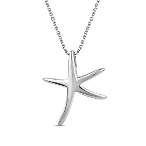LeCalla Sterling Silver Jewelry Light Weight Star Fish Pendant with Cable Chain Beach Wear for Women (Fish Life Sterling Silver)