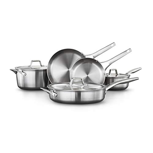 Calphalon 2029633 Premier Stainless Steel 8-Piece Cookware Set, Silver