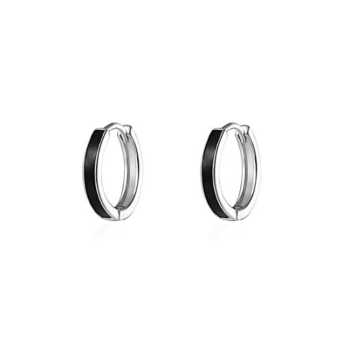 FANCIME White Gold Plated 925 Sterling Silver Black Enamel Hinged Hoop Earrings Dainty Fine Jewelry For Women Girls, 12.5mm