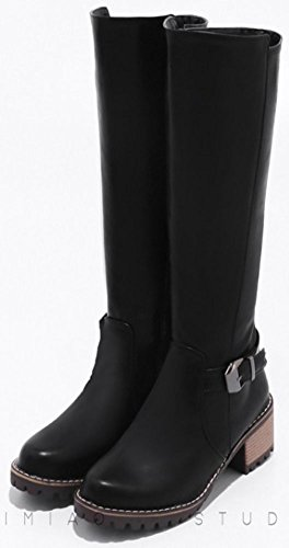 Idifu Womens Warm Mid Dikke Hak Zijrits Gesp Knie Hoge Laarzen Zwart