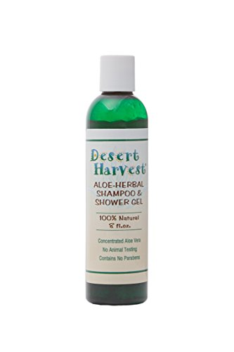 Desert Harvest Aloe-Herbal Shampoo & Shower Gel 8 oz - moisturizing, hydrating for dry itchy skin & scalp, dandruff, eczema, psoriasis, seborrhea, Sjogren's, dermatitis. 100% natural, paraben-free.