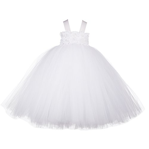 Little Girls' Puffy Flower Girl Tutu Dresses 2 Rows 3D Rose Flowers with Tied Bow at Back, 4T, White (Sparkly Dresses For Little Girls)
