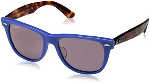 - Ray-Ban RB2140F Wayfarer Asian Fit Sunglasses, Blue/Polarized Violet, 54 mm