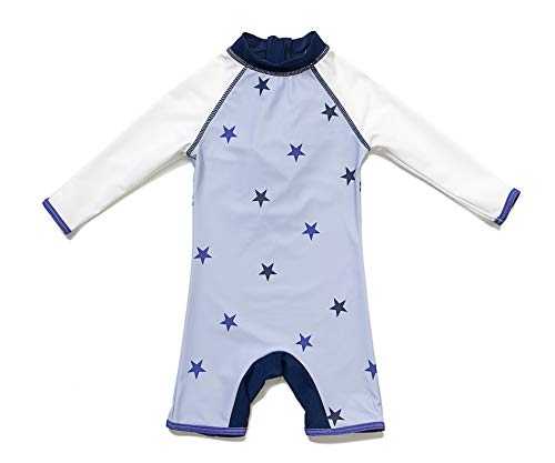 Boys Sunsuit - Bonverano TM Baby Infant Boy's UPF 50+ Sun Protection L/S One Piece Zip Sunsuit (Violet Star, 24-36 Months)