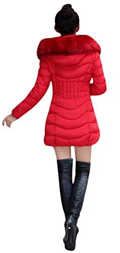 Épaissi Femme Fourrure Faux À Manches Capuche Rouge Doudoune Hiver Élégant  Veste Longues Manteau Mileeo qHwzxx ee2a57e6d04