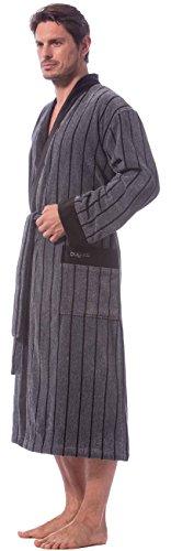 Bugatti Bademantel für Herren, grau mit schwarzen Streifen, Gr. 3XL, Velours, Baumwolle