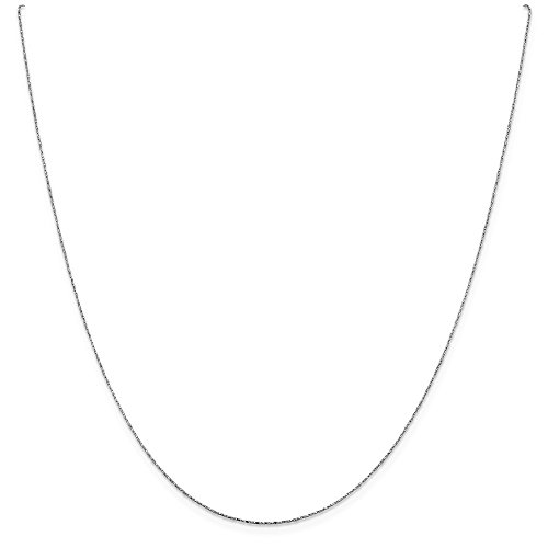 0.6mm 14k White Gold Sparkle-Cut Twisted Square Snake Chain Necklace - 16 Inch ()
