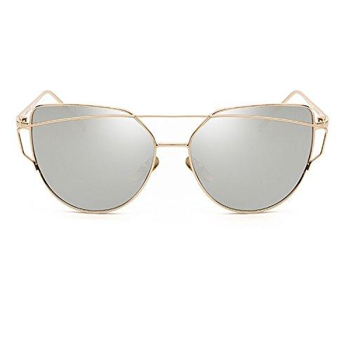 Armear Cat Eye Double Bridge Mirrored Flat Lenses Sunglasses Trendy Eyewear (Rose gold - Women Popular For Sunglasses