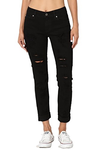 TheMogan Women's Distressed Ripped Denim Mid Rise Crop Boyfriend Jeans Black - Black Boyfriends